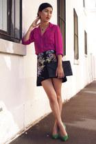 turquoise blue Zara heels - hot pink Topshop shirt