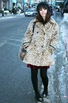 ruby red Forever 21 dress - light yellow vintage coat - black American Apparel s