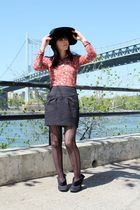 pink vintage shirt - black Urban Outfitters skirt - black Urban Outfitters tight
