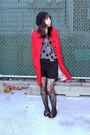 Ruby-red-tulle-coat-charcoal-gray-thrifted-blouse-black-forever-21-skirt-b