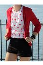 White-vintage-blouse-red-zara-cardigan-black-american-apparel-shorts-black