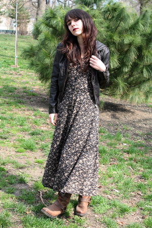 brown Target boots - neutral vintage dress - black H&amp;M jacket