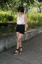 beige Forever 21 blouse - black American Apparel shorts - black Steve Madden sho