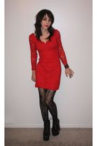 red vintage dress - black Urban Outfitters tights - black Jeffrey Campbell shoes