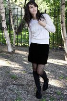 beige vintage sweater - black vintage Betsey Johnson skirt - black Forever 21 so