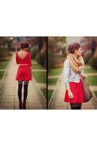 coral Dress dress - brick red Shoes shoes - gold scraf scarf - Bag bag