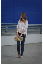 gold Bag bag - mustard Shoes shoes - eggshell Sweater sweater - navy pants pants