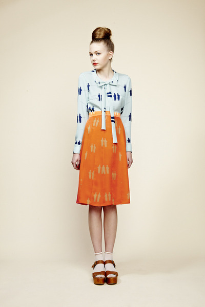 sky blue Charlotte Taylor blouse - carrot orange skirt