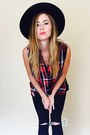 Combat-boots-thrifted-vintage-boots-denim-topshop-jeans-felt-free-people-hat