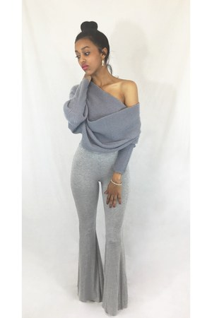 wrap Sheinside sweater - basic asos bodysuit - bell bottoms pants