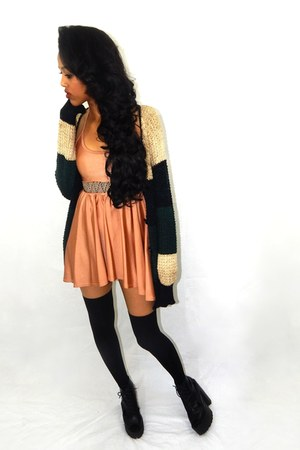 bronze skater American Apparel dress - black thigh highs H&M stockings
