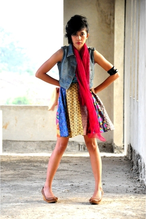 scarf - pull&bear shoes - dress - vest - accessories