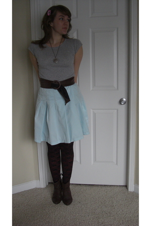 silver Express shirt - blue Mossimo skirt - brown reos boots