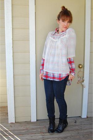 white sheer H&M blouse - black Ross boots - navy Gap jeans