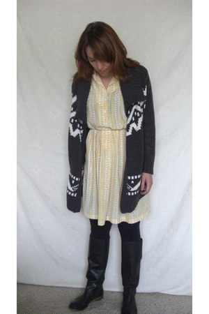 black lucky boots - light yellow vintage dress - charcoal gray Forever21 sweater