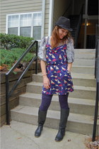 navy Forever 21 dress - black lucky boots - black fedora Old Navy hat