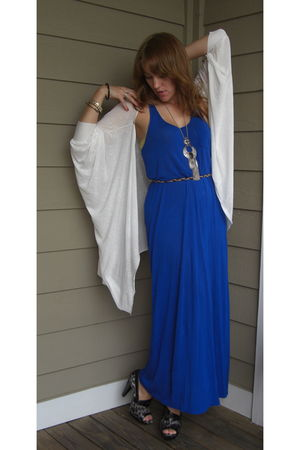 blue Forever 21 dress - white nihonfleur cardigan - silver Forever 21 accessorie
