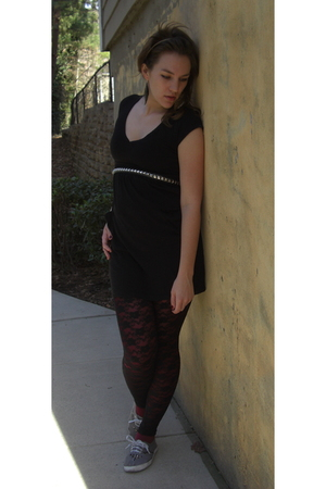 black Old Navy dress - green thrift belt - black Claires tights - red leggings -