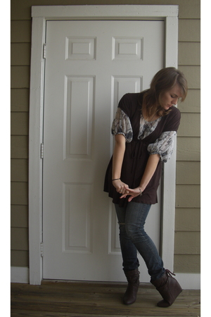 brown Target top - gray blouse - blue Express jeans - brown REOX boots