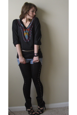 black MC MA top - blue vintage shorts - black MC MA leggings - black boots