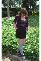 purple Urban Outfitters blazer - black Urban Outfitters top - black Old Navy ski