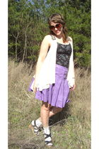 black shirt - purple skirt - white socks - black shoes - white blouse
