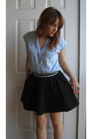 turquoise blue vintage shirt - black H&M skirt