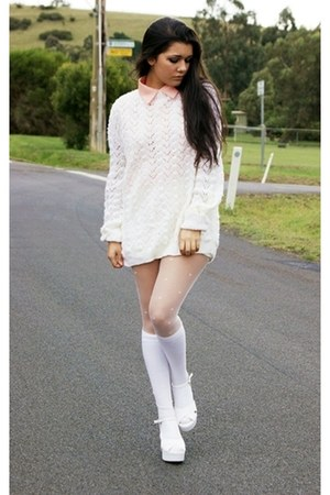 nude Mossman shirt - white socks - white stockings - off white 2h jumper