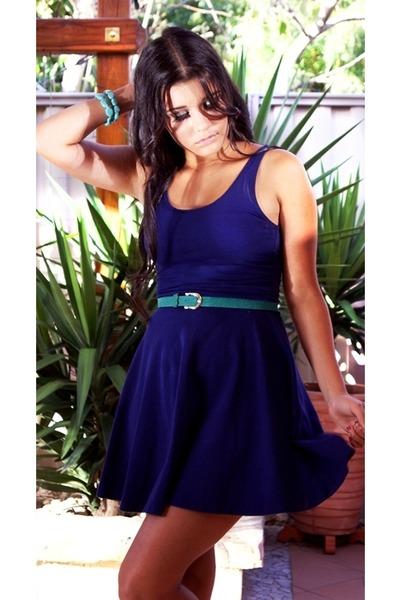 navy skater dress Topshop dress - turquoise blue suede belt - sky blue  bracelet 0937f775b