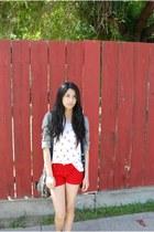 red shorts - cream bird print shirt - silver bag - black oxford flats