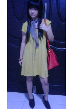 Zara dress - Louis Vuitton accessories - Mango scarf - boots - Dorothy Perkins b
