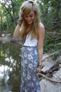Blue-maxi-thrifted-skirt-white-target-top-brown-wal-mart-sandals-brown-for