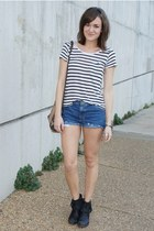navy diy thrifted shorts - black Anthropologie boots - white Forever 21 shirt