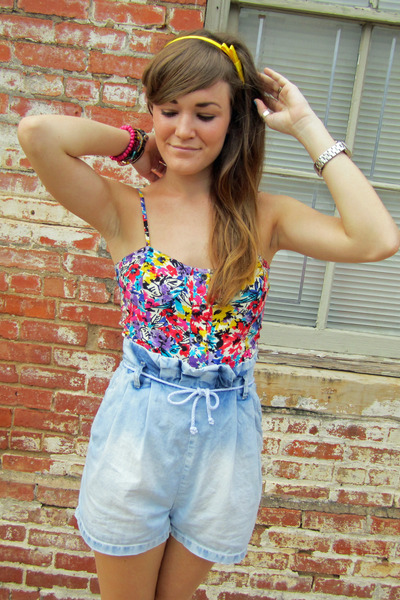 pink Forever21 - blue H&M shorts - gold headband accessories
