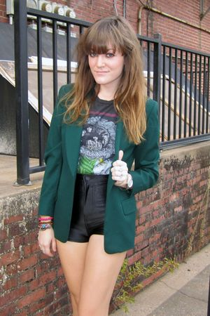 green thrifted blazer - black wedges Forever 21 shoes