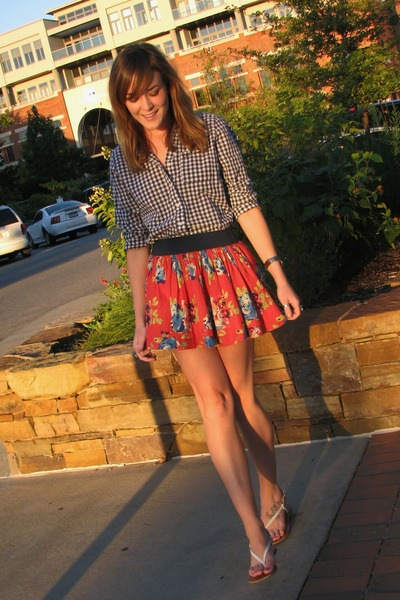 orange floral abercrombie and fitch skirt - navy gingham Gilly Hicks shirt