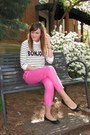 White-asos-sweater-hot-pink-forever-21-pants-black-wal-mart-flats