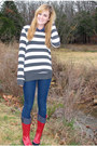 Heather-gray-forever21-coat-red-rain-sperry-boots-navy-forever21-jeans