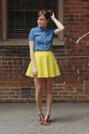 yellow Forever 21 skirt - navy denim J Crew top - brown wal-mart sandals
