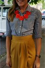 Mustard-therapy-skirt-navy-gingham-gilly-hicks-shirt-red-j-crew-necklace