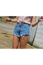 Navy-thrifted-diy-shorts-bubble-gum-polka-dot-forever21-top