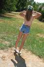 Navy-thrifted-diy-shorts-aquamarine-bow-american-apparel-accessories