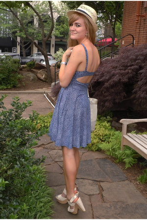 cream Forever21 hat - blue Urban Outfitters dress - cream coach purse
