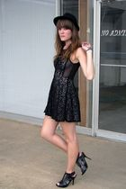 black Forever21 dress - black wal-mart hat - black random boutique shoes - green