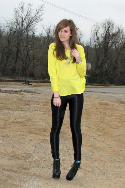 yellow Forever 21 top - black litas Jeffrey Campbell boots