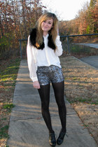 white button-down Forever21 shirt - silver Forever21 shorts
