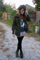gray urbanoutfitters hat - black vintage shirt - green Forever21 jacket - blue a