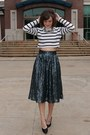White-forever-21-top-teal-asos-skirt-black-vintage-prada-heels