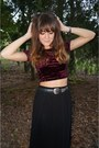 Black-forever-21-skirt-maroon-forever-21-top-black-thrifted-vintage-belt