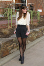 White-charlotte-russe-top-gray-forever21-shorts-black-wal-mart-tights-gray